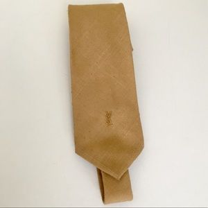 YSL SOLID TAN WOOL BLEND TIE